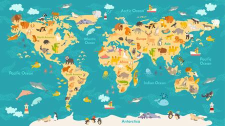 Carte des animaux pour l'enfant. Affiche de vecteur mondial pour les enfants, mignon illustré. globe de bande dessinée d'âge préscolaire avec des animaux. Océans et continent: Amérique du Sud, Eurasie, Amérique du Nord, Afrique, Australia.Baby carte du monde Vecteurs