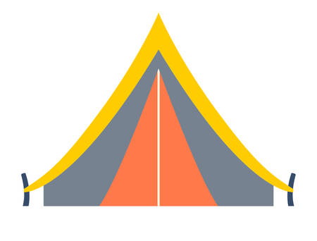 yellow adventure: Tent vector icon. Tent for camping. Tent for adventure and camping. Tent icon. Tent illustration.Travel element, cartoon booth. Tent vector illustration isolated on white background, flat style
