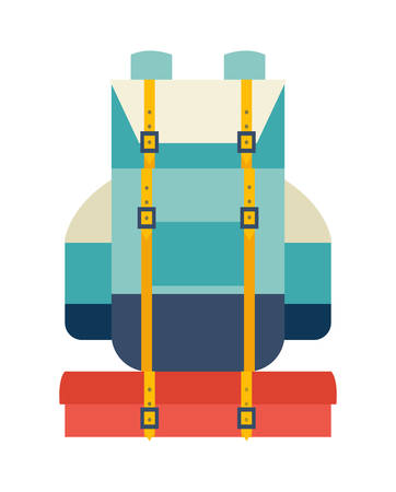 Backpack vector icon. Backpack for adventure and camping. Backpack icon. Backpack for hiking illustration.Cartoon style backpack. Backpack vector illustration isolated on white background, flat style