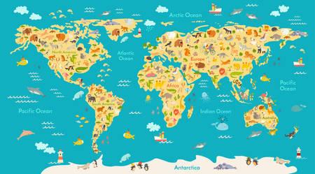 mapa zwierzę dla dziecka. Świat wektor plakat dla dzieci, słodkie ilustrowane. Przedszkole kreskówki kula ze zwierzętami. Oceany i kontynent: Ameryka Południowa, Eurasia, Ameryce Północnej, Afryce, Australia.Baby mapa świata Ilustracje wektorowe