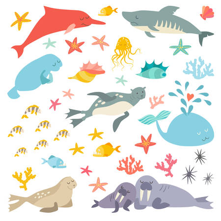 Sea and ocean life set, flat cartoon vector illustration. Isolated on white background Çizim