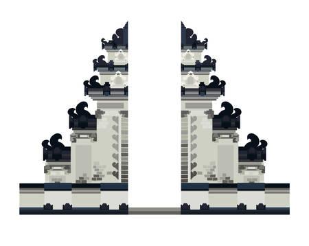 Bali tempel ingang vectorillustratie. Nationaal landschap, poort in Bali, Indonesië. Etnisch historisch gebouw geïsoleerd op een witte achtergrond