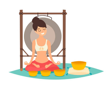 Meditation, young woman making yoga vector illustration. Gong and singing bowl. Relax and calm concept, isolated on white background