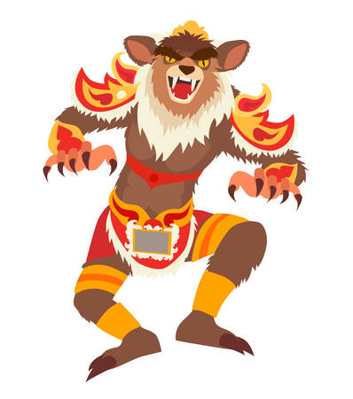 Balinese traditional New year parade celebrations. Ogoh-Ogoh statues in Bali, Indonesia. Ethnic Scary monster isolated vector illustration on white background Illustration