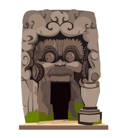 Goa Gajah Temple vector illustration. Ethnic historical Elephant Cave isolated on white background in Bali Indonesia