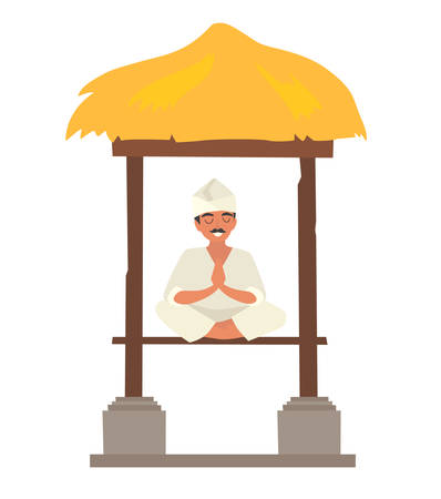 Asian man doing meditation on ethnic traditional gazebo, vector illustration. Balinese monk on nature. Relax and calm concept, isolated on white background