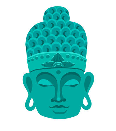 Buddha mask blue color. Traditional Asian sign, vector illustration on white background. Buddhism symbol