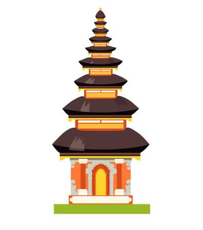 Illustrazione di vettore del tempio etnico balinese. Pura di stile indonesiano nazionale a Bali, Indonesia. Edificio storico etnico isolato su priorità bassa bianca