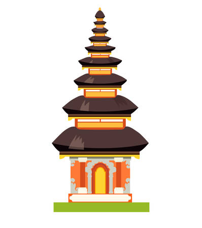 Balinese Ethnic Temple vector illustration. National indonesian style pura in Bali, Indonesia. Ethnic historical building isolated on white background
