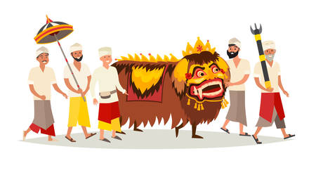Bali traditional ceremony vector icon. Ethnic Indonesian party art, isolated on white. Man and monster costume people with spiritual balinese sign