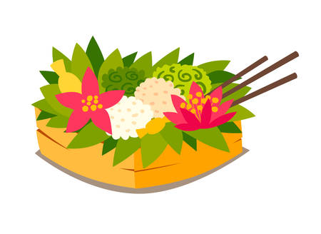 Traditional ceremonial basket with fruit and food.  vector illustration. Bali culture art. Traditional ceremonial basket with fruit and food. Isolated on white background Stock Illustratie