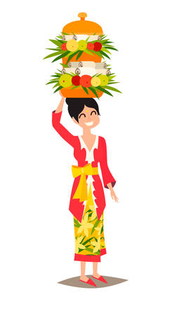 Indonesian woman with an offering to the spirits vector illustration. Bali culture art. Traditional ceremonial basket with fruit and food. Isolated on white background