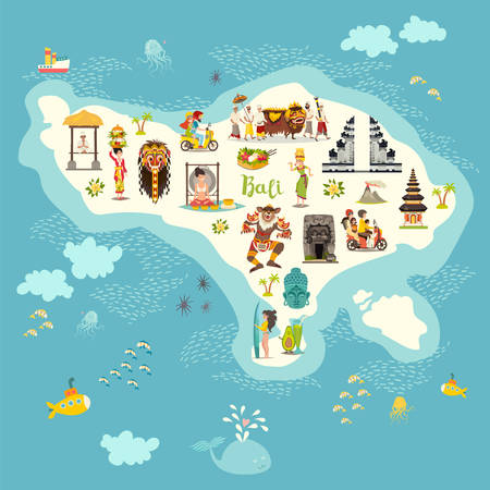 Bali map vector illustration. Illustrated map of Bali for children/kid. Cartoon abstract atlas of Bali with landmark and touristic symbol: temple, meditation, traditional dance, surfing, nyepi and volcanic Vettoriali