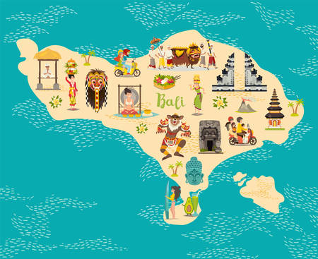 Cartoon map of Bali for kid and children. Bali landmarks vector cute poster. Indonesian culture concept. Illustrated card