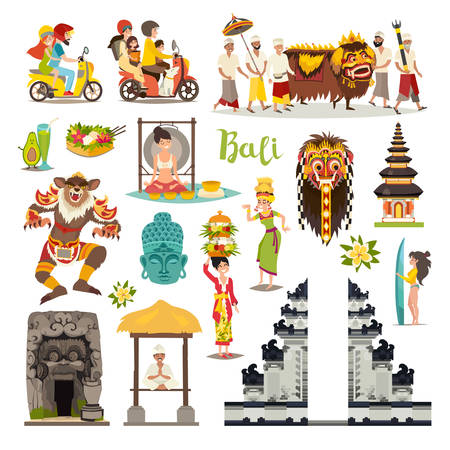 Bali landmarks vector icons set. Illustrated travel collection. Balinese traditional Temple, ethnic mask, indonesian people and tourist, Buddha drawn art sign. Isolated on white background