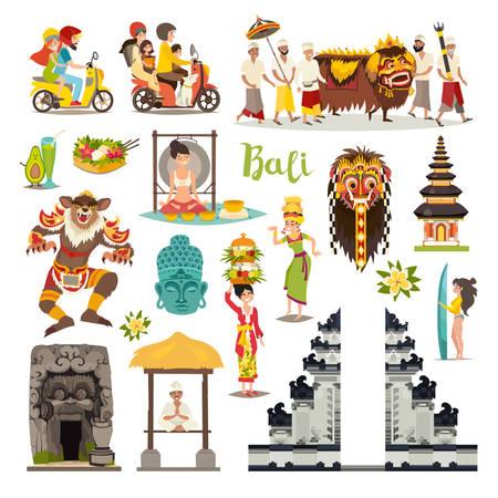 Set di icone vettoriali di Bali punti di riferimento. Collezione da viaggio illustrata. Tempio tradizionale balinese, maschera etnica, popolo indonesiano e turista, segno di arte disegnata del Buddha. Isolato su sfondo bianco