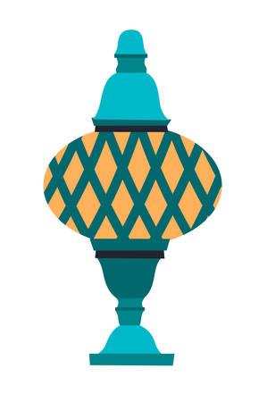 Turkish lamp vector illustration, isolated on white background.  Flat cartoon style