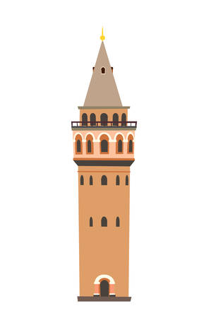 Galata tower vector icon. Istanbul landmarks, isolated on white background