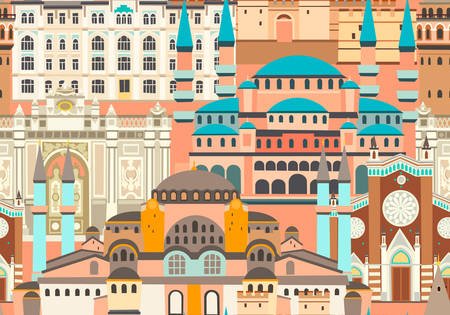 Istanbul City colorful vector seamless pattern. Famous Istanbul building. Mosque and Turkey landmarks abstract panoramic street