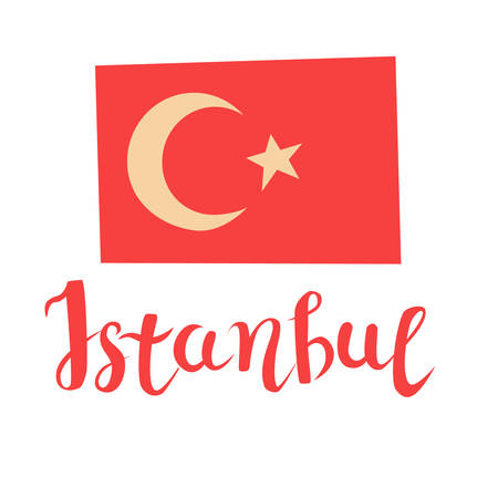 Istanbul Turkish flag vector cartoon style, isolated on white background