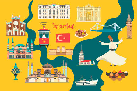 Istanbul City colorful vector map. Famous Istanbul building. Mosque and Turkey landmarks card atlas Illustration
