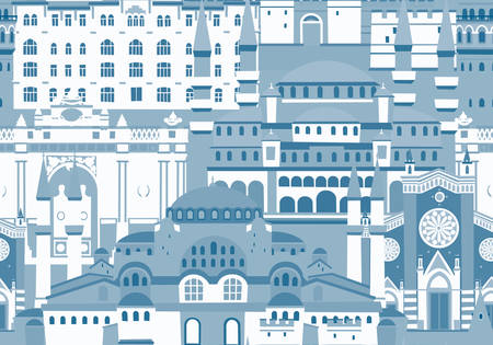 Istanbul City colorful vector seamless pattern. Monochrome blue colors. Famous Istanbul building