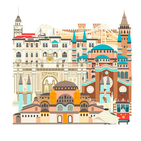 Istanbul City colorful beautiful vector card. Istanbul abstract  building: Mosque, Temple. Bridge and Palace Turkish tramand dancer