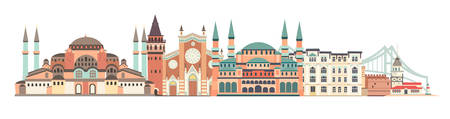 Istanbul City colorful skyline vector illustration. Panoramic of Istanbul, famous building. Palace and bridge landmarks. Historic abstract icon