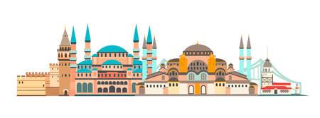 Istanbul City bunte Skyline-Vektor-Illustration. Panorama von Istanbul, berühmtes Gebäude Vektorgrafik