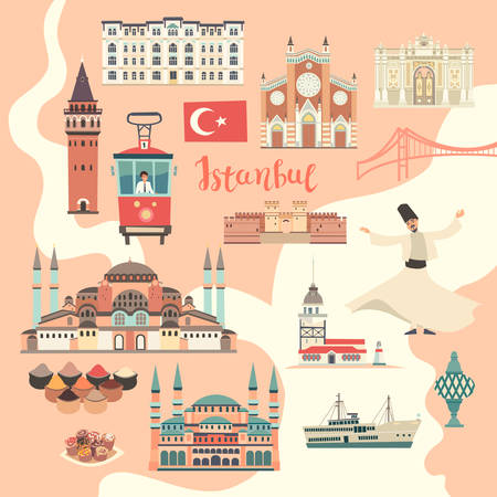 Istanbul City colorful vector map. Famous Istanbul building. Mosque and Turkey landmarks card atlas Stock Illustratie