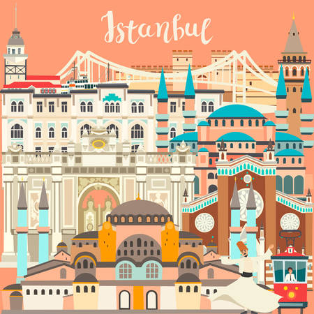 Istanbul City colorful vector card. Famous Istanbul building. Mosque and Turkey landmarks abstract panoramic street