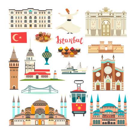 Istanbul City bunte Vektorsammlung. Istanbul Gebäude und Wahrzeichen. Moschee, Tempel-Cartoon-Stil. Brücke und Palast-Symbol. Türkische Straßenbahn und Tänzerin