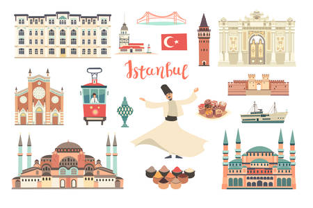 Istanbul City colorful vector collection. Istanbul building and landmarks. Mosque, Temple cartoon style. Bridge and Palace icon. Turkish tramand dancer