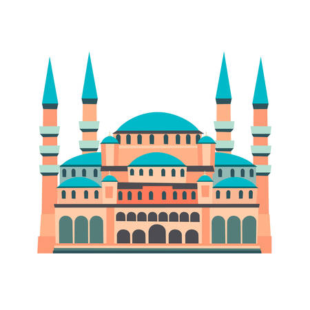 Blue Mosque vector illustration, isolated on white background. Historic building in Istanbul Turkey. Flat cartoon style