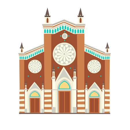 Catholic church cartoon style icon. Istanbul landmarks, isolated on white background Stock Illustratie