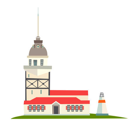 Lighthouse icon. Istanbul landmarks, isolated on white background