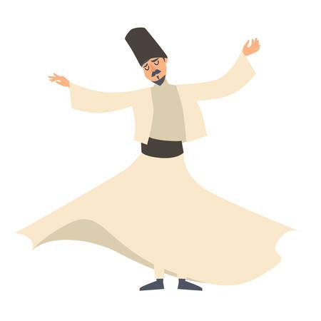 Dervish dancer vector illustration. Turkish man cartoon style character, isolated on white 矢量图像