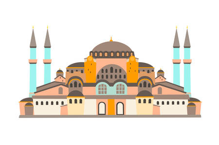 Hagia Sophia Mosque vector illustration, isolated on white background. Historic building in Istanbul Turkey. Flat cartoon style Иллюстрация
