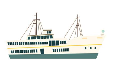 Ship vector, isolated on white background. Istanbul landmarks Stock Illustratie