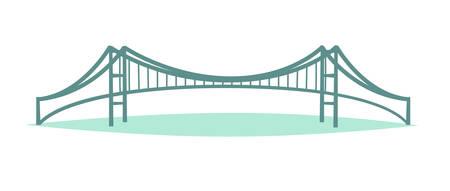 Istanbul urban bridge skyline vector illustration, isolated on white background Stock Illustratie