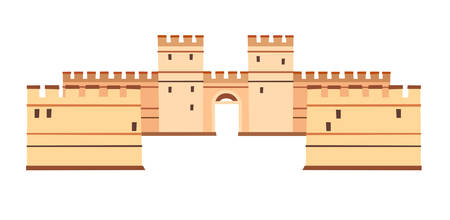 Constantinople walls vector icon. Istanbul landmarks, isolated on white background Stock Illustratie