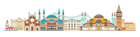 Istanbul City colorful skyline vector illustration. Landscape with landmarks, city panorama. Abstract street