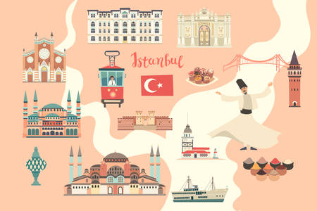 Istanbul City colorful vector map. Famous Istanbul building. Pastel pink colors
