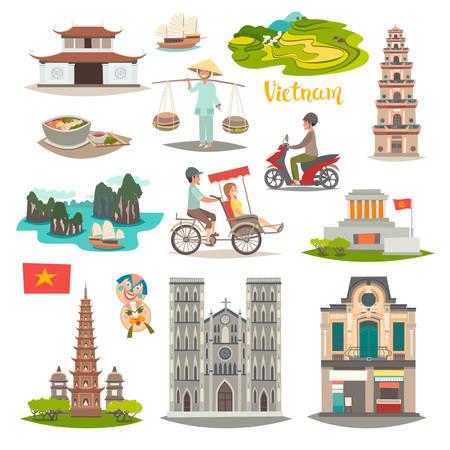 Ensemble d'icônes vectorielles de point de repère du Vietnam. Collection de voyage illustrée sur le Vietnam. Architecture et symboles culturels traditionnels vietnamiens. Attraction touristique asiatique, isolée sur fond blanc