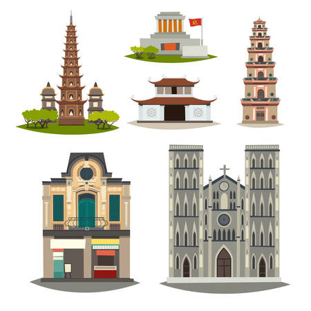 Vietnam vector building collection. Detailed pagoda, house, mausoleum cartoon illustration. Historical place cityscape isolated on white background. Architecture in the town, flat cartoon style