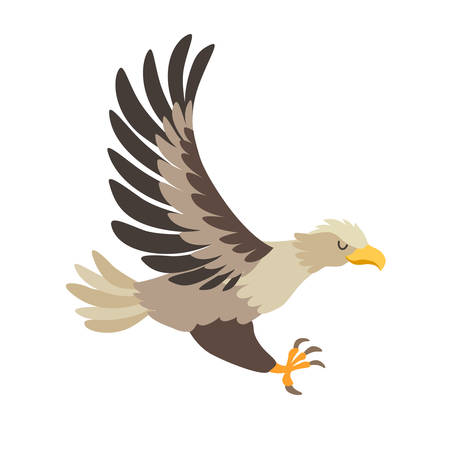 White-tailed eagle icon vector illustration. Cartoon style bird, isolated on a white background