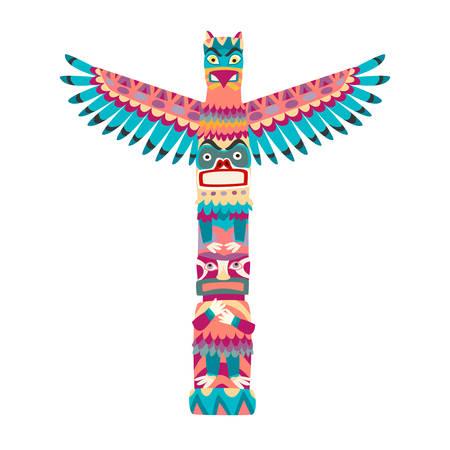 Totem poles vector illustration. Totem pole with tiki mask flat cartoon style icon isolated on white background Illustration