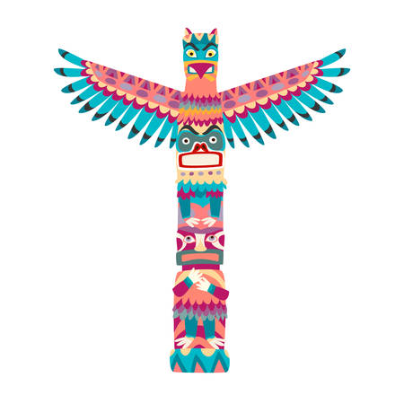 Totem poles vector illustration. Totem pole with tiki mask flat cartoon style icon isolated on white background Çizim