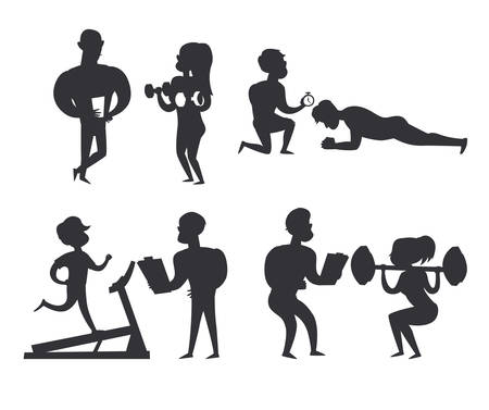 Coach and man black silhouettes. A woman in the gym doing exercises with a coach outline illustration. Training in the gym concept illustration. Weight loss healthy lifestyle concept. Isolated vector illustration on white background