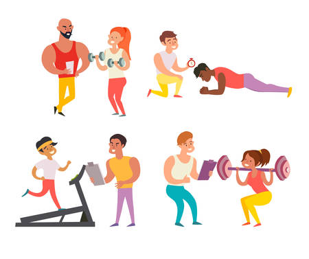 Coach and man. A woman in the gym doing exercises with a coach. Training in the gym concept illustration. Weight loss healthy lifestyle concept. Isolated vector illustration on white background